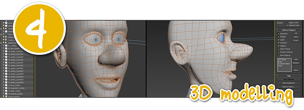 3D character in development showing polygon mesh