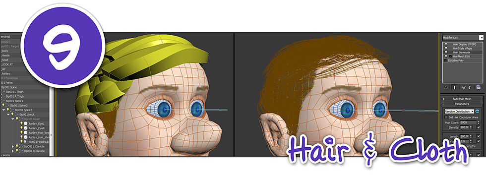 specialist software and plugins are used to create hair on a 3D character model