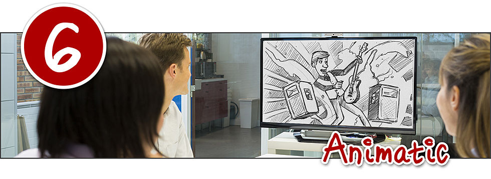 three people in an office watching an drawing from an animatic to see how an animated video will flow