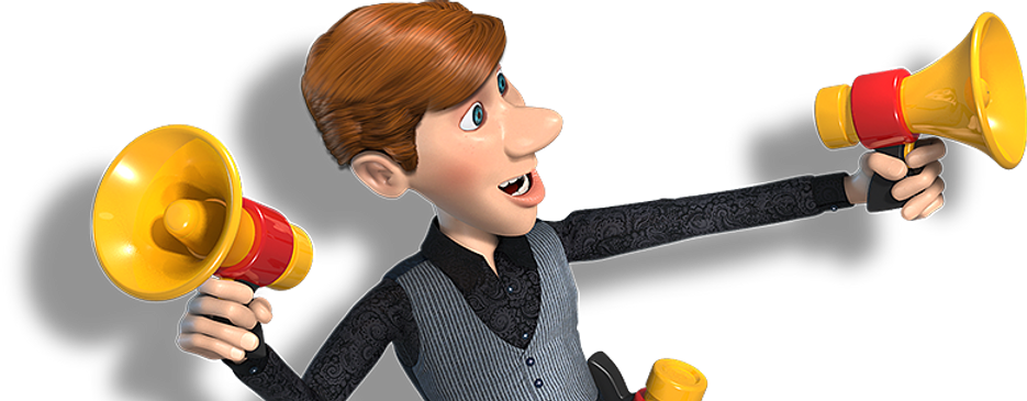 young male character with brown hair holding yellow magaphones