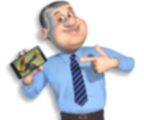 cartoon male character with grey hair and blue shirt and tie