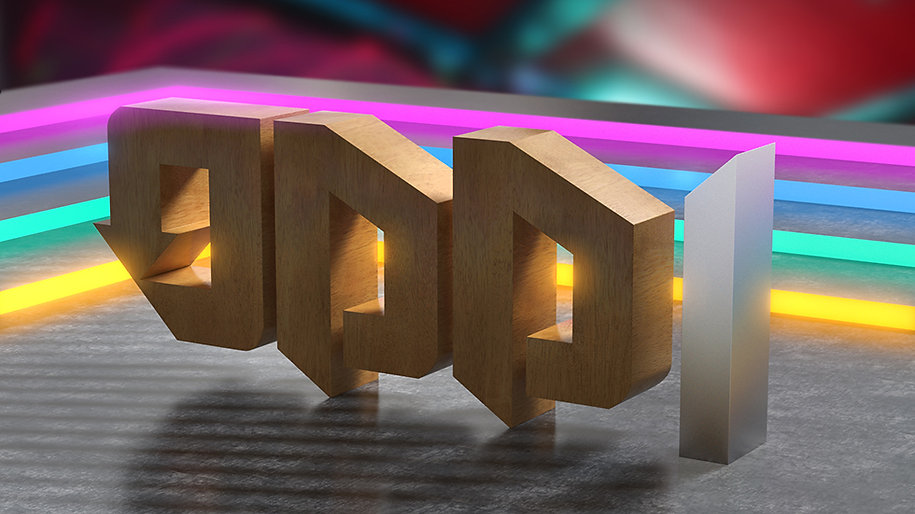 3d wooden text lettering odd 1 with colourful abstract background