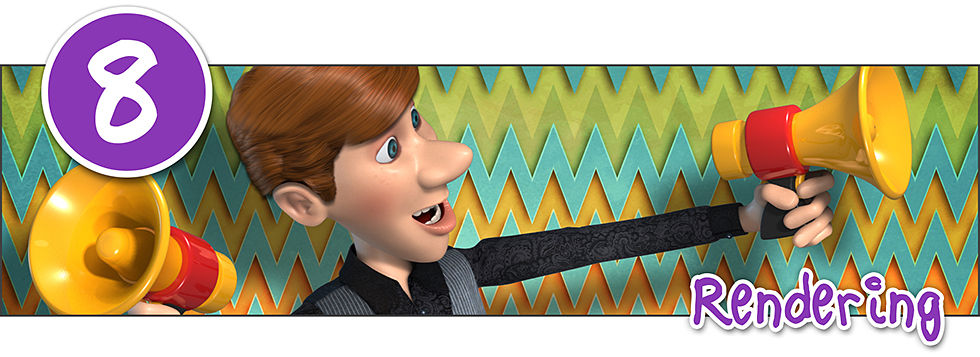 a 3D character of a young man with brown hair holding two yellow megaphones