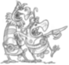 cartoon drawing of excited chicken and bird with big eyes and teeth