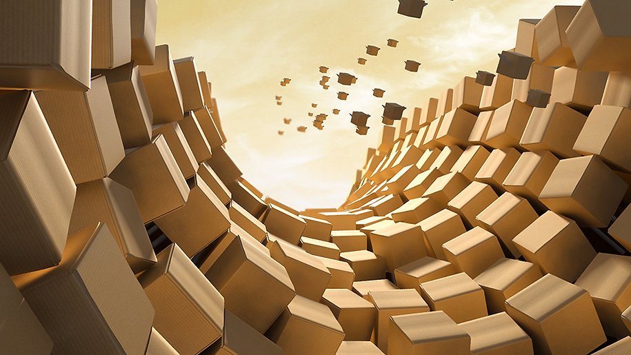 3D cardboard boxes forming a tunnel with flying boxes in the background against a warm sunset sky