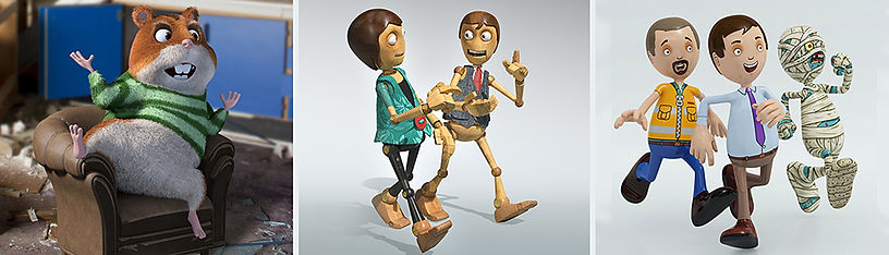 selection of 3D characters including hamster wooden male and female and tow male characters with egyptian mummy