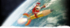comic 3D character of red bird on yellow pencil rocket flying over earth