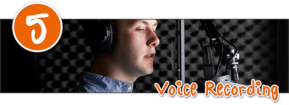 a voice artis recording a script in a studio with a microphone
