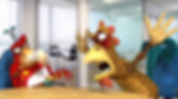sceptical red bird and excited gold chicken characters in an office environment