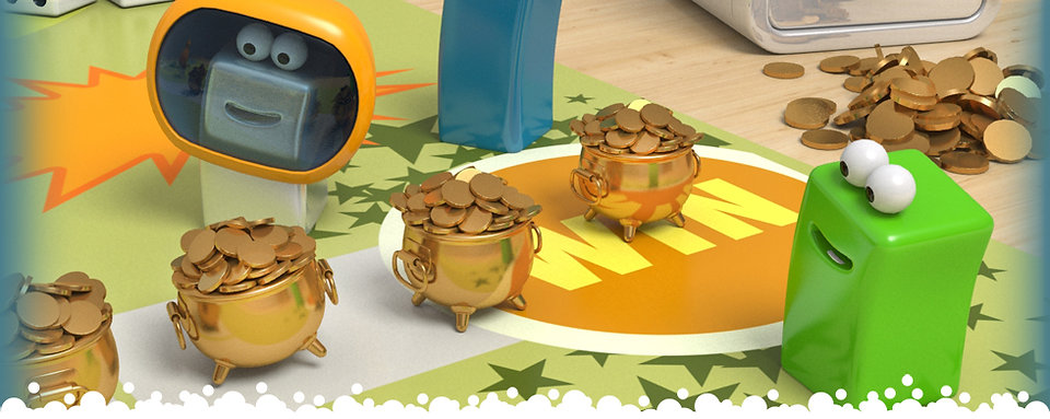 simple cube characters with big eyes surrounded by pots of gold and coins