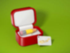 3D model of red jewellery keepsake box with stubby yellow pencil and pink eraser and white card with golden text wow!