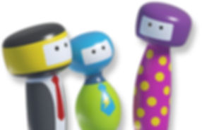 three simple abstract characters in black, blue and green and purple with rectangular faces