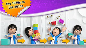 3D female character working on a production line with colourful boxes