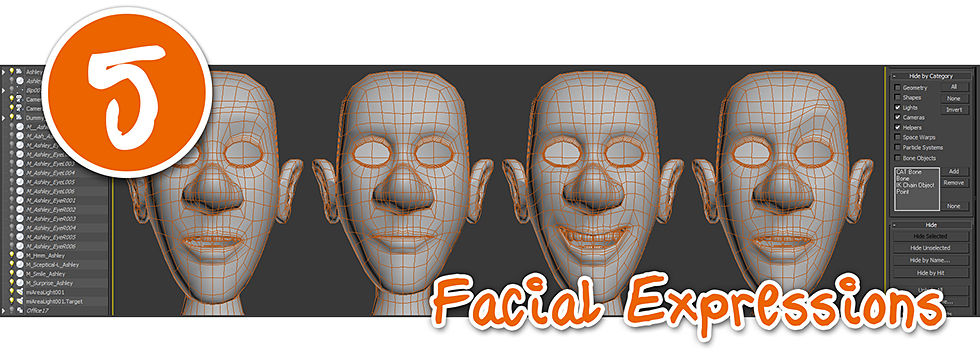 3D mesh showing facial expressions on 3D character model