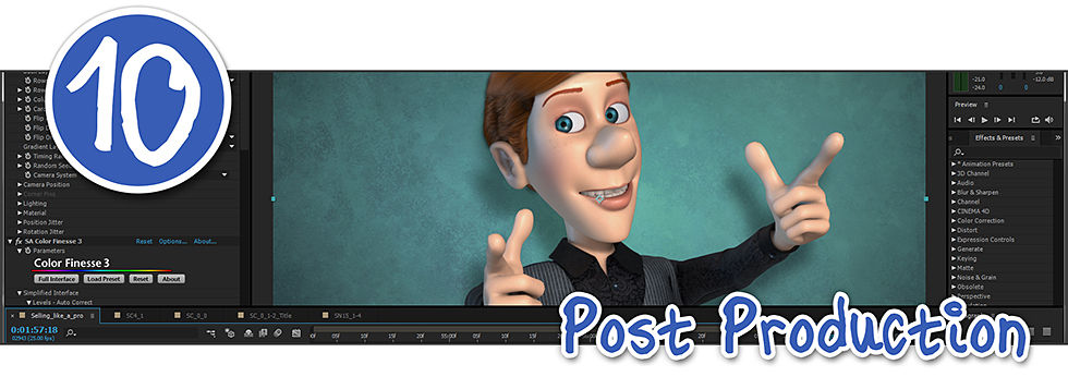 an example of an animated video in post production on Adobe After Effects