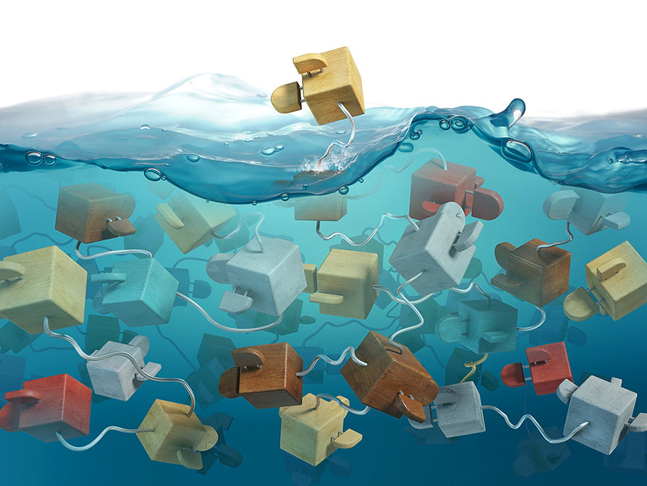 3d model depicting complex abstract ideas using cube like fish and realistic looking water environment