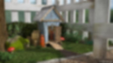 3D cartoon game environment with blue wooden shed red mushrooms plants and grass mossy rock and white picket fence