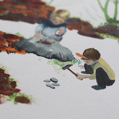 Akvarel Vyrobíme prášek z cihel