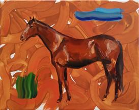 Nebe, kůň a tráva