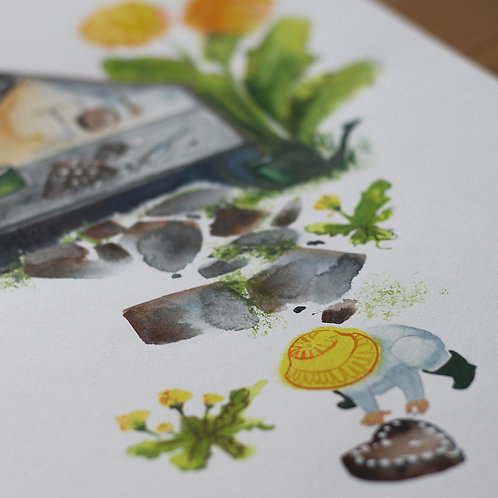 Akvarel Dort z hlíny