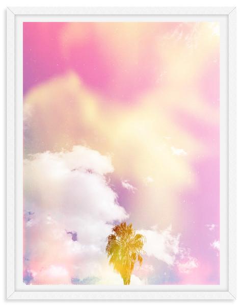 cloudy sky pink light leak palm tree cal