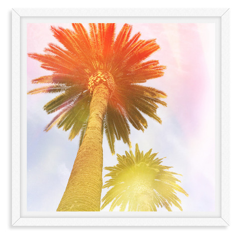 colorful palm tree orange yellow abstrac