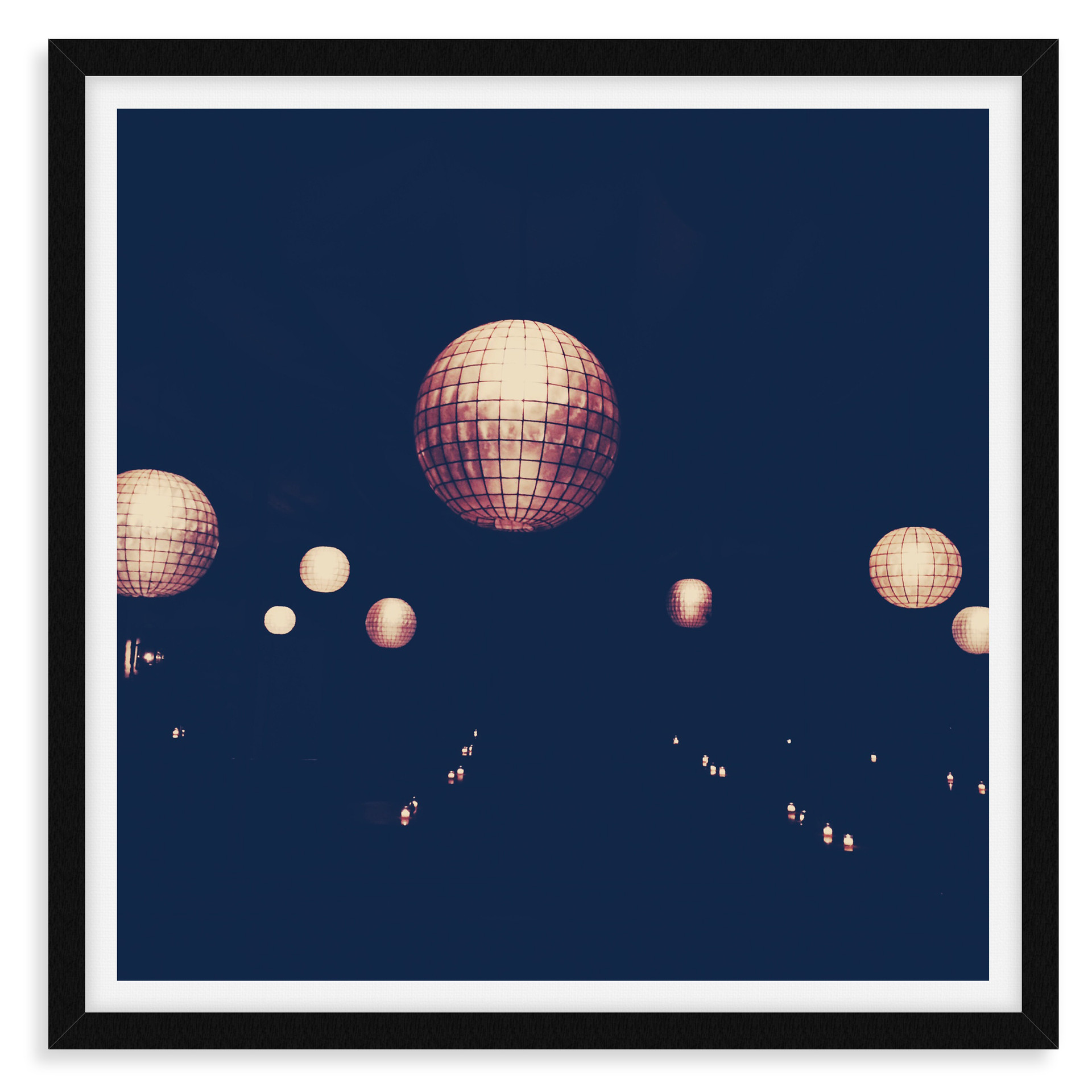 night disco balls abstract wall art leas