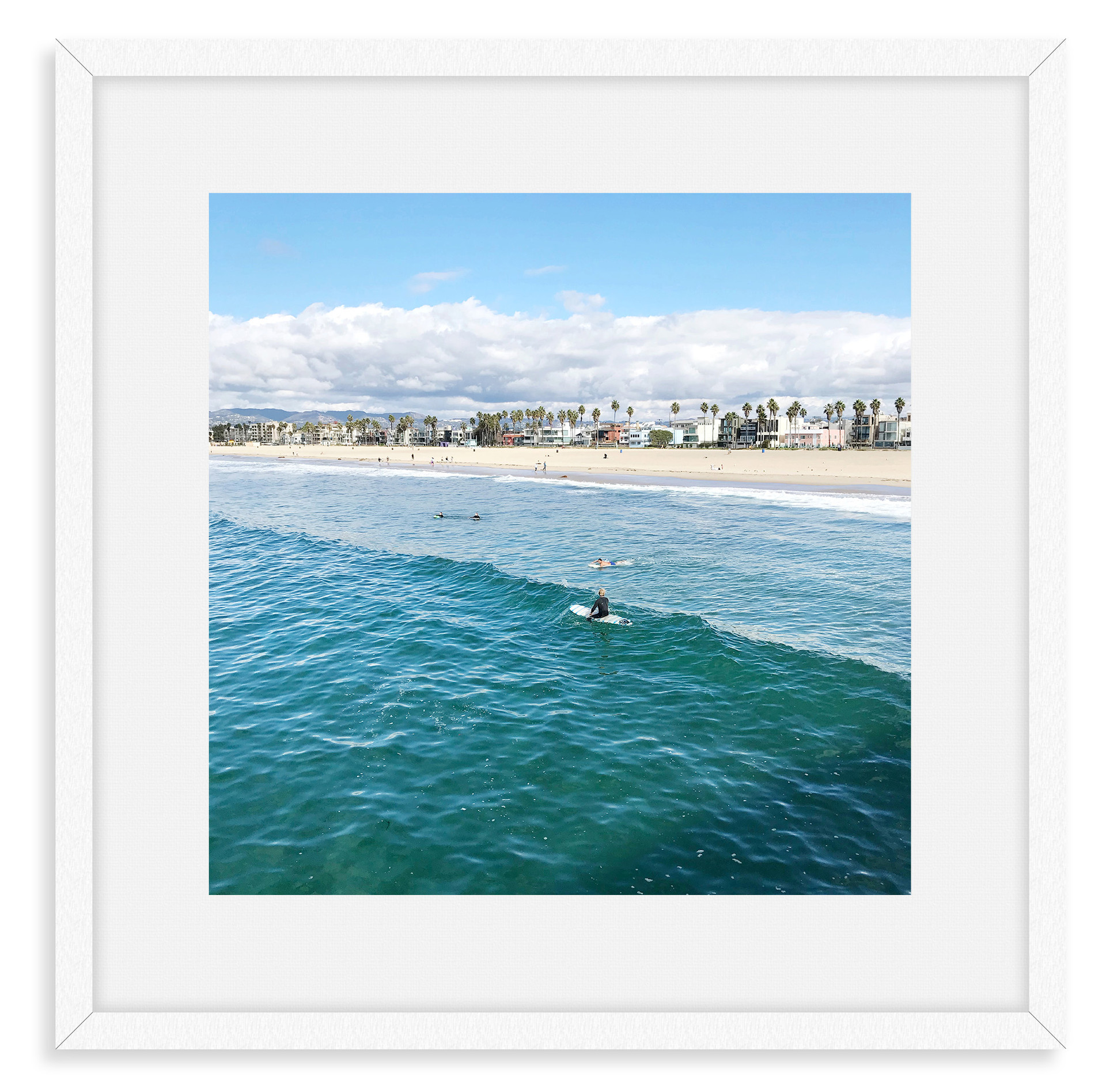 surfers waves blue sky santa monica cali