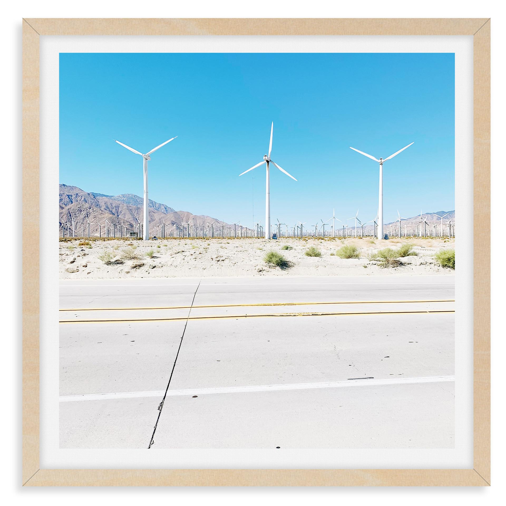 palm springs highway windmills blue sky