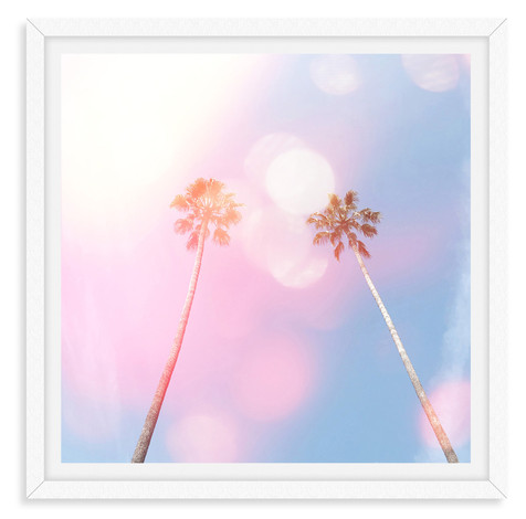 pink blue sky two palm trees whimsical w