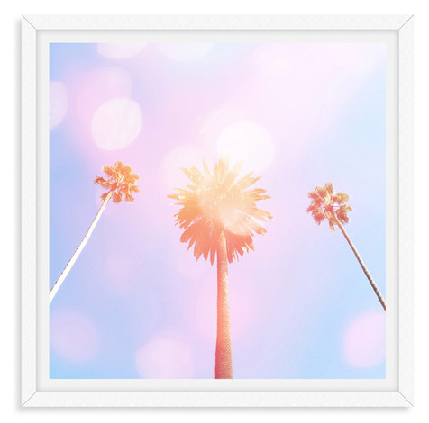 pink purple three palm trees whimsical w