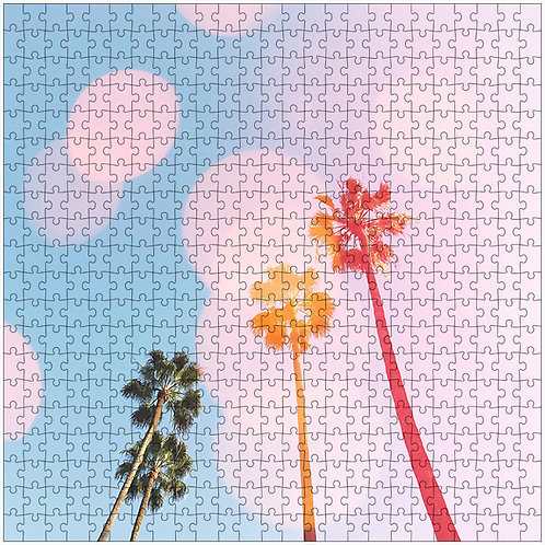 """Bubble Gum Palms 2"" - 500 Piece Fine Art Premium Puzzle"