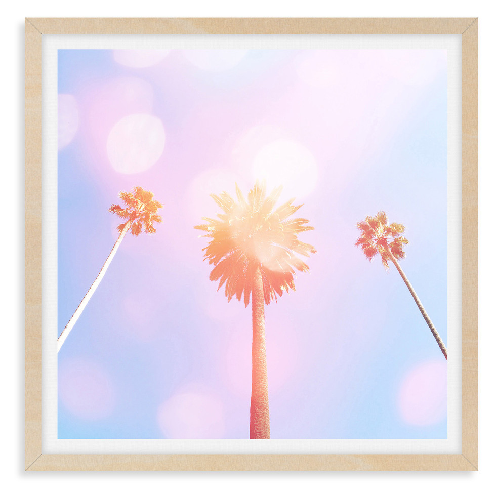 pink purple three palm trees whimsical w