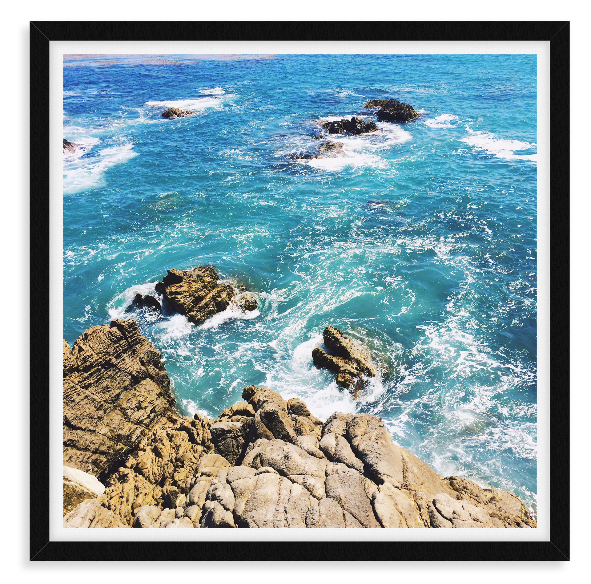 blue ocean beach sky malibu cliffs wall