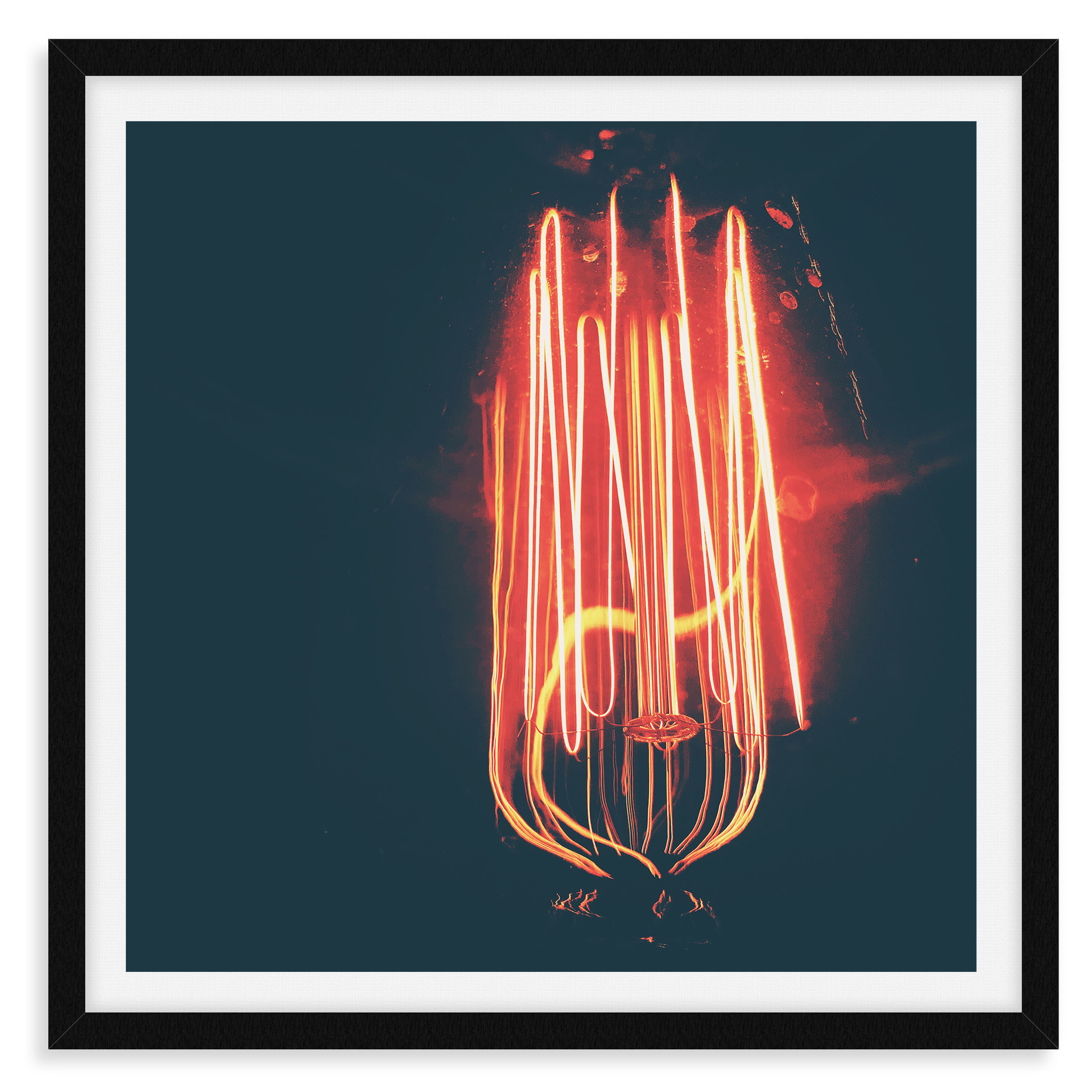 red black light bulb electric wall art l