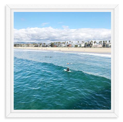 surfers waves blue sky santa monica cali