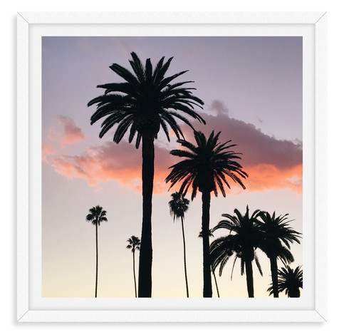 palm tree silhouette pink sunset wall ar