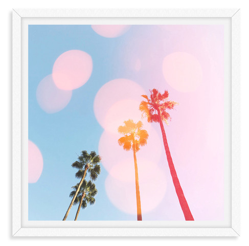 pink blue sky four palm trees whimsical
