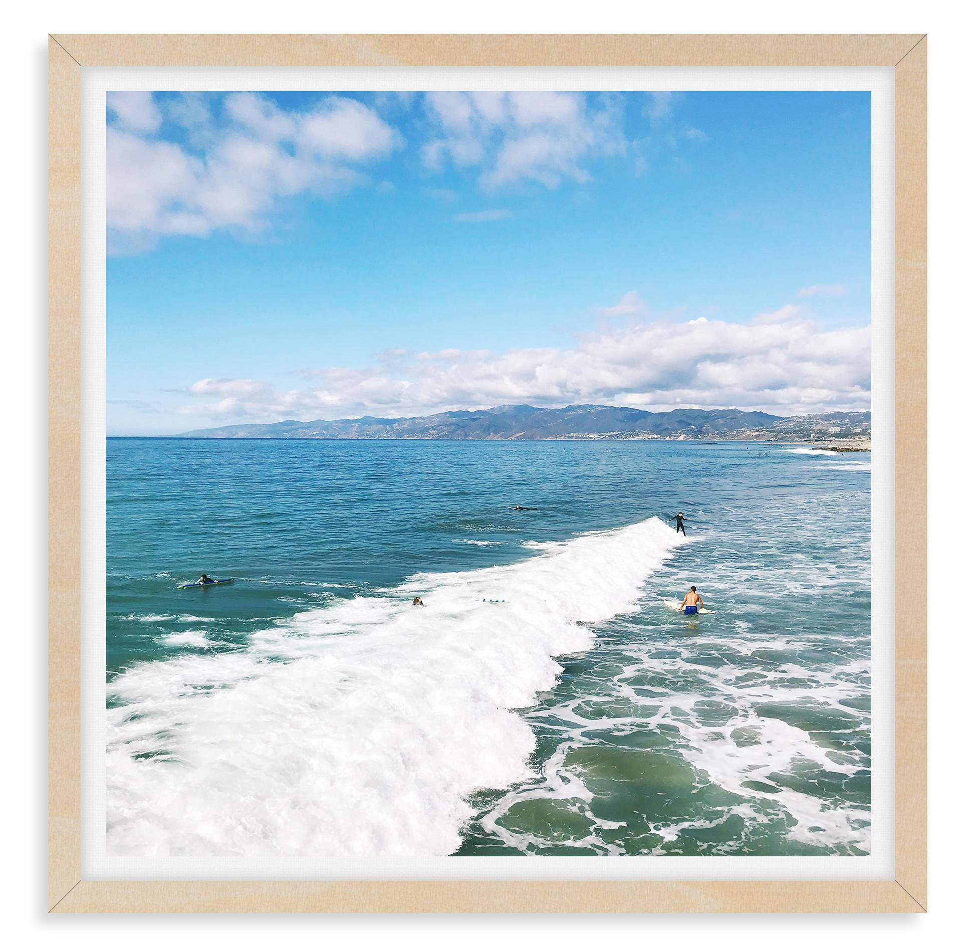 blue sky ocean beach waves surfers malib