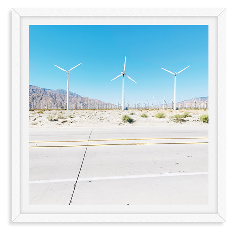 palm springs highway windmills blue sky