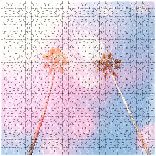 """Bubble Gum Palms 4"" - 500 Piece Fine Art Premium Puzzle"