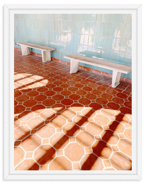 tiled floor bench pool house wall art le