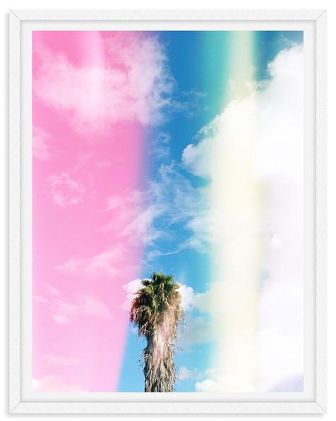 palm trees pink blue california sky wall