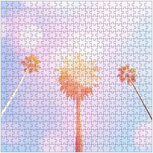 """""""Bubble Gum Palms 3"""" - 500 Piece Fine Art Premium Puzzle"""