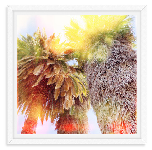 colorful yellow orange palm tree abstrac