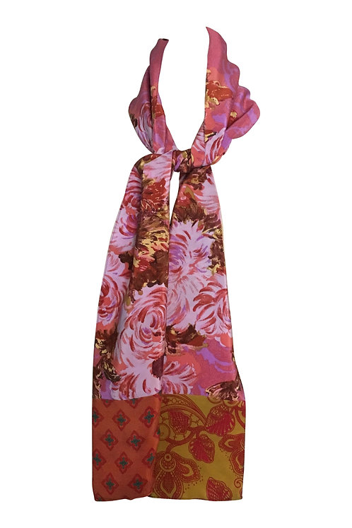 Pink and Gold Floral Scarf