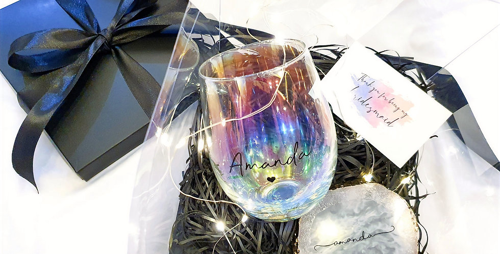 Shimmering Set - Iridescent Glass & Crystal Coaster