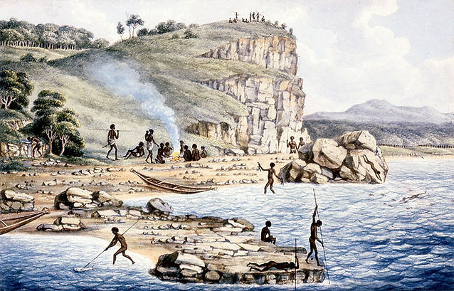 Aborigines spearing fish, others diving for crayfish