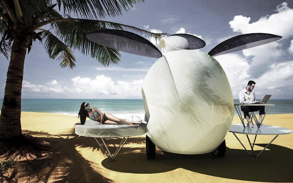People enjoying the seaside in bioPOD