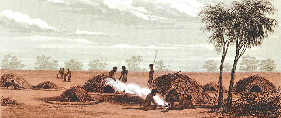 Ingenuity. An 1845 sketch by J.H. Le Keux shows an Aboriginal village near the NSW/SA border.